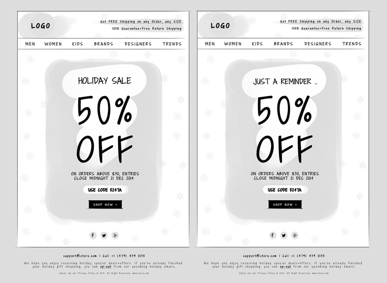 Holiday Themed Email Designs