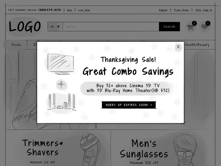 eCommerce homepage promotional pop-up