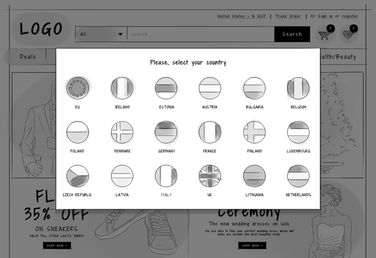 eCommerce website header - Country selector